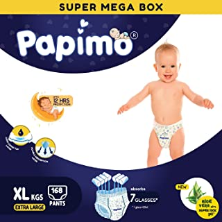 Papimo Baby Diaper Pants with Aloe-vera & Super Lock Gel - 168 Count, X-Large