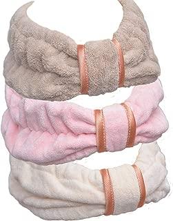 Soft Microfiber shower handbands - spa facial makeup handbands Elastic Hair Band Hairlace Headband Cosmetic Headband for washing face, 3pcs brown, pink and cream yellow