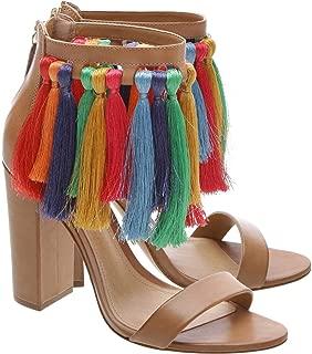 Women's Chalisa Desert Block Heel Multi Color Fringe Tassel Sandal Pumps