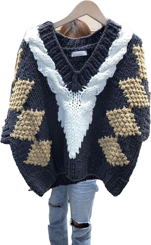 Autumn Winter Knitted Sweater Vest Women's V-Neck Top Short Sleeve Diamond Pattern Sweater