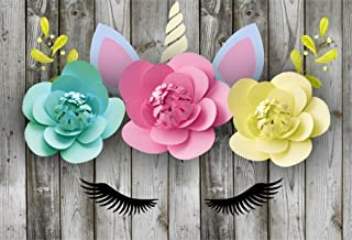 LFEEY 5x3ft Eyelash Unicorn Theme Backdrop for Birthday Girls Baby Photo Shoot Wooden Wall Baby Shower Paper Flowers Garland Unicorn Head Background for Photography Photo Studio Props