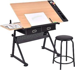 スタンディングデスク学生ライティングドローイング製図テーブルモダンメタルワークテーブル調節可能なトップとスツール、ブラック