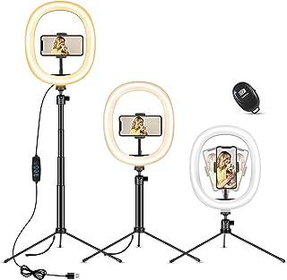 MOSUO 25 cm ringlampa med stativstativ och telefonhållare, höjdjusterbar skrivbord LED selfie ringlampa med 3 färger och 1...