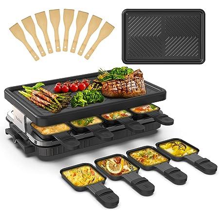 Appareil a Raclette 8 Personne Raclette Grill 8 Spatule 8 Poêlons Grill Electrique Machine a Raclette Grill BBQ Revêtement Anti-adhésif Plaque Amovible1300 Watt, Noir