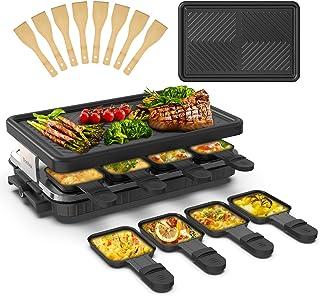 Appareil a Raclette 8 Personne Raclette Grill 8 Spatule 8 Poêlons Grill Electrique Machine a Raclette Grill BBQ Revêtement...