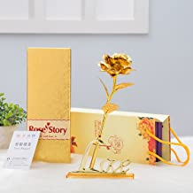 Gift Gallery Victoria Love Story Gold Rose With Gift Box And With Love Stand Free With It ,Multicolor