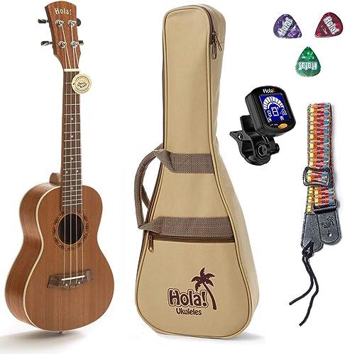 Concert Ukulele Bundle, Deluxe Series by Hola! Music (Model HM-124MG+), Bundle Includes: 24 Inch Mahogany Ukulele wit...
