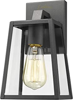 Emliviar Outdoor Wall Mounted Light Single Light Exterior Wall Sconce Lantern, Black Finish Lamp with Clear Bevel Glass, OS-1803AW1