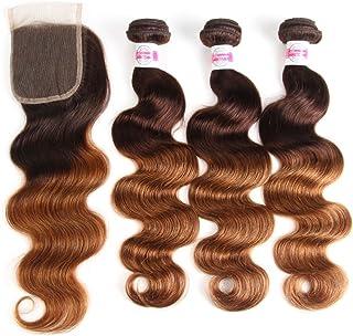 2 Tone Ombre Hair 3 Bundles With Closure Brazilian Virgin Hair Body Weft Ombre Human Hair Bundles T4/30 Medium Brown/Medium Auburn(16 18 20with14)