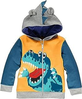 Qmislg Toddler Jackets Boys Cartoon Dinosaur Hoodie Long Sleeve Zipper Hooded Sport Sweatshirt for Kids