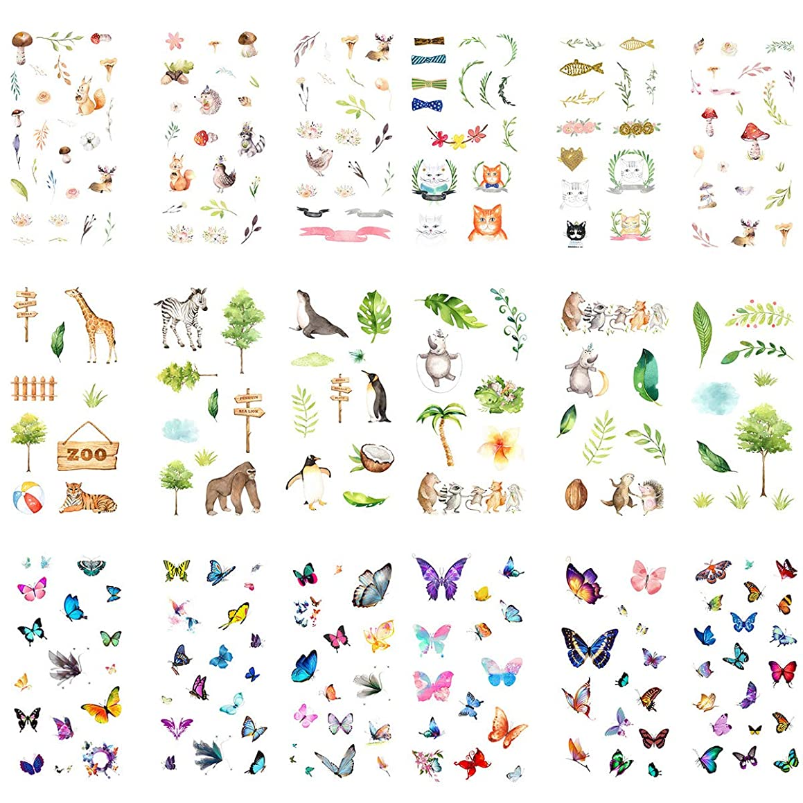 Kawaii Sticker Set (18 Sheets) Cute Forest Animal Zoo Zebra Penguin Hedgehog Tiger Cat Deer Bird Colorful Butterfly Stationery Stickers Scrapbooking Journal Diary Planner DIY Craft Decorative Label