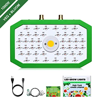 1000W LED Grow Light with 3 Light Mode Full Spectrum COB Plant Lights for Indoor Plants with Adjustable Hanging Ropes Growth Lamp for Hydroponic Greenhouse Veg and Flower