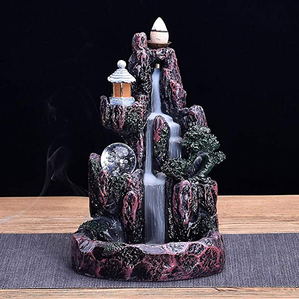 Mangetal Mountains Incense Burner Waterfall Backflow Incense Burner Holder Incense Stick Holder Home Office Decor With 10 Cones LED Glowing Style 1 LED