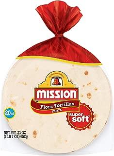 Mission Fajita Flour Tortillas | Trans Fat Free | Authentic, Large Size | 20 Count (23 oz)