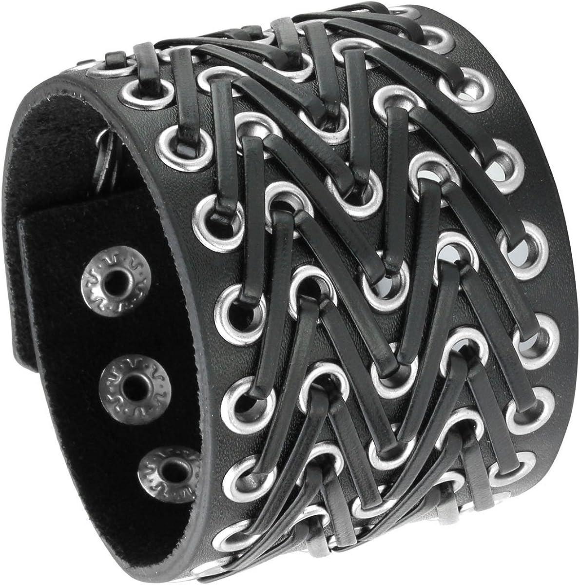Eigso Black Retro Gothic Punk Wide Strap Leather Bracelet Snap Button Wristband for Men Women
