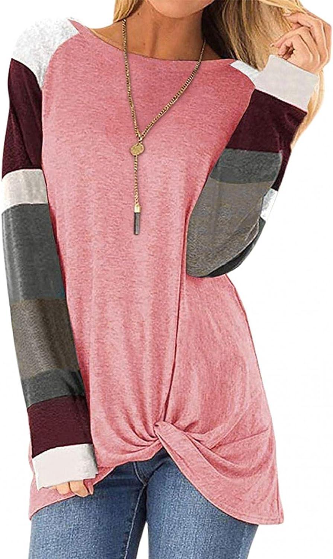 felwors Sweatshirt for Women,Womens Color Block Shirts Long Sleeve Crewneck Sweatshirts Casual Blouses Tunic Pullover
