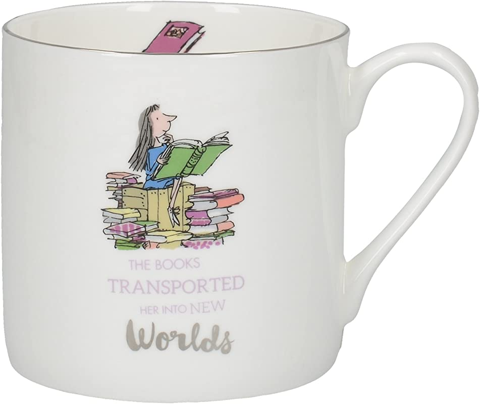CreativeTops Roald Dahl Large Mug With Matilda Illustration And Silver Rim Bone China White Multi Colour 11 X 11 X 8 5 Cm