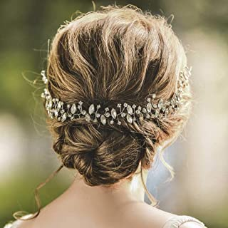 Yean Bridal Hair Vine Silver Rhinestone Crystal Hair Piece Wedding Hair Accessories for Women and Girls