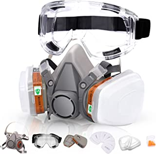 Reusable Respirators Half Facepiece Cover - ANUNU Chemical Respirator with Filters/Goggle Against Dust Organic Gas Vapors ...
