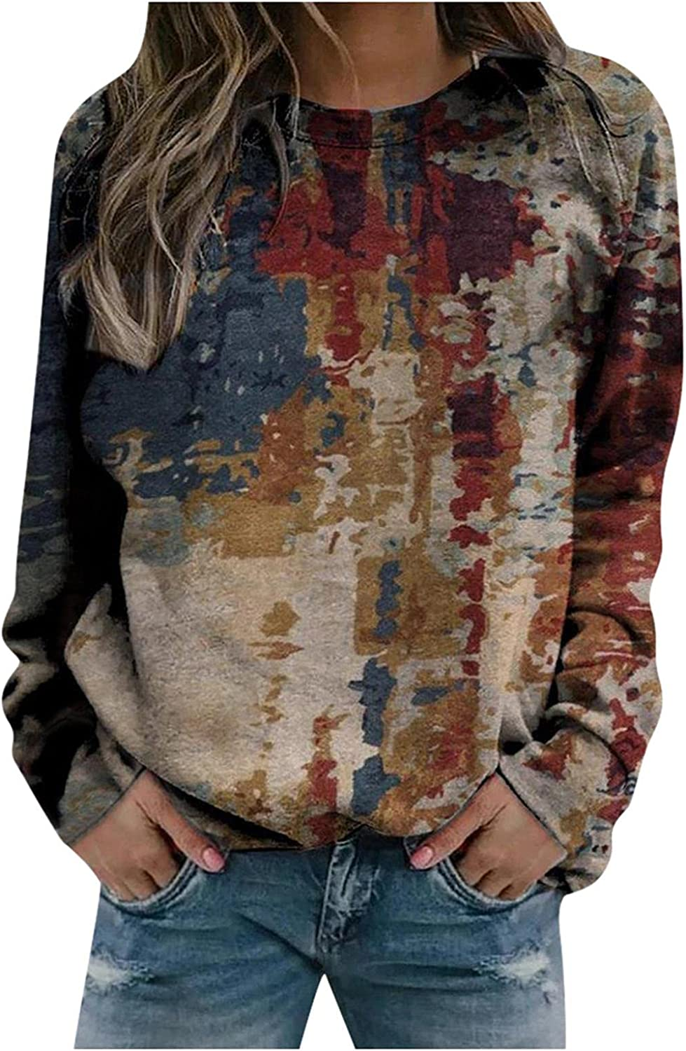 Long Sleeve Shirts for Women,Vintage Graphic Sweatshirts Loose Casual Crewneck Sweaters Tops