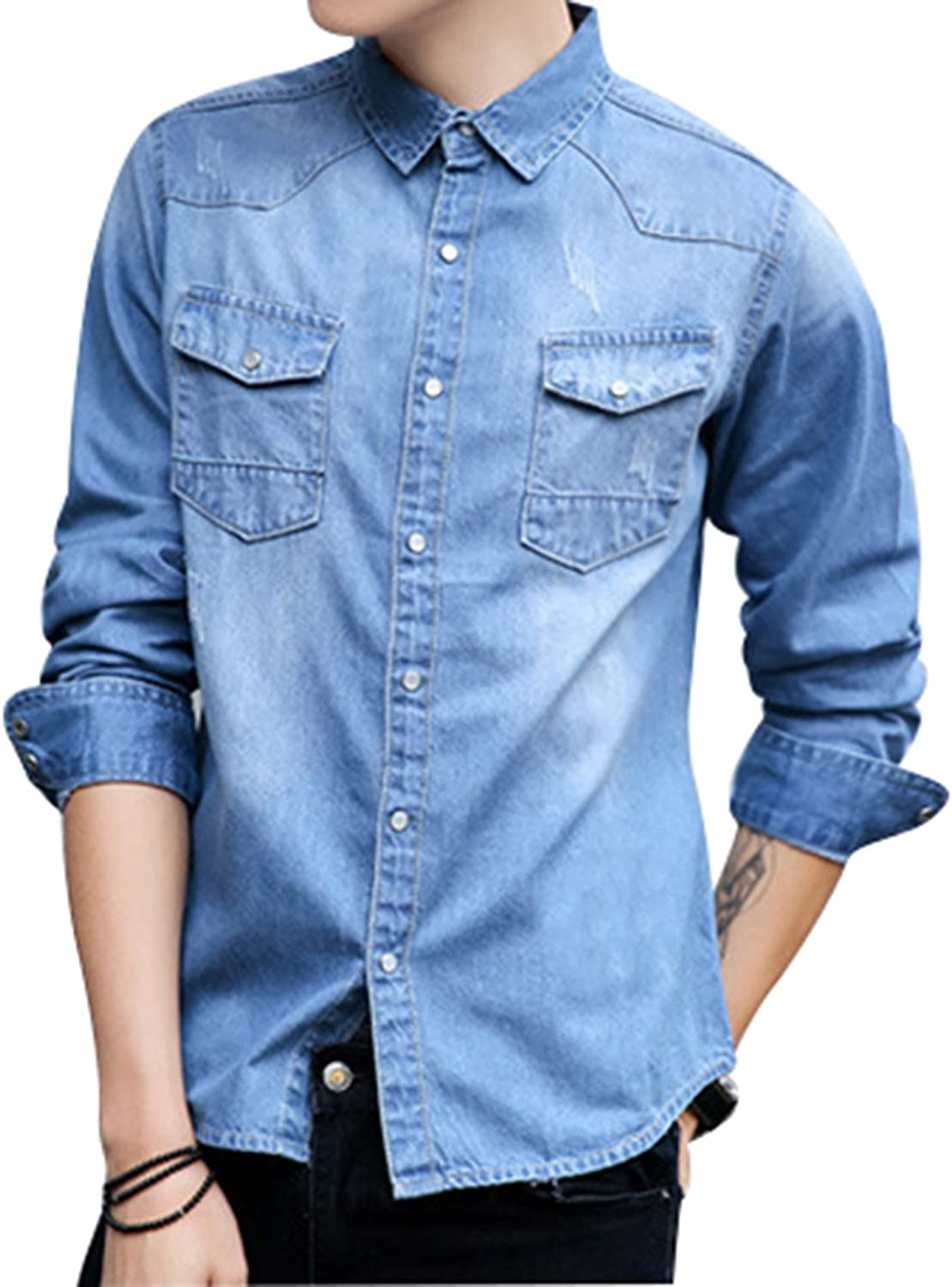 9819e040f Yeokou Men's Casual Slim Long Sleeve Sleeve Sleeve Lapel Collar Button Down  Cowboy Denim Shirt 05b361