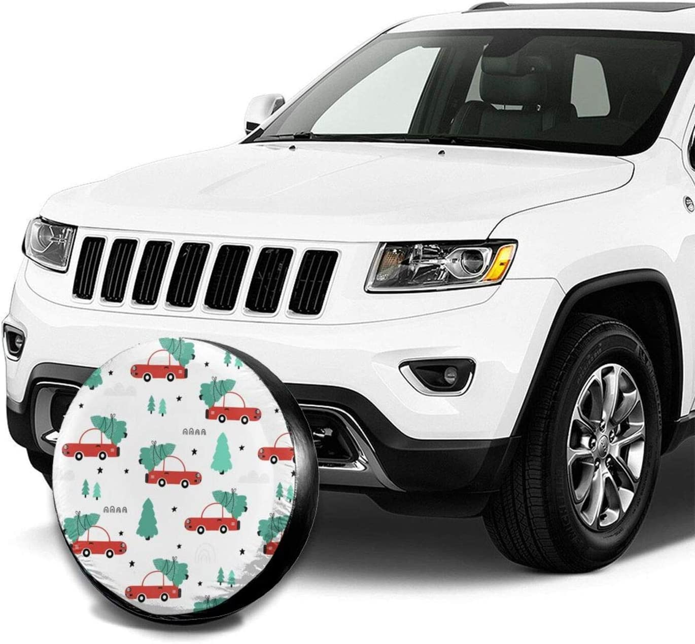 Universal Wheel Tire Cover Waterproof Dust-Proof Tire Protectors for Jeep Trailer Rv Van SUV Truck Camper and Many Vehicle 14 15 16 17 Inch Dujiea Greeting Christmas Spare Tire Cover