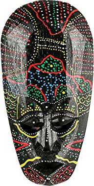 AEVVV African Mask Aboriginal Style Hand Painted Wooden Mask Wall Hanging Decor African Decor - Hand Chiseled Wood African St