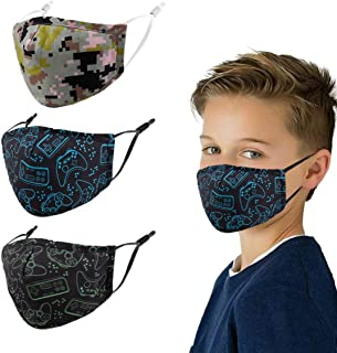 3 Pcs Cloth Mask - Kids Reusable Washable Breathable Cute Pattern Face Cover Outdoor Sports Boys Girl