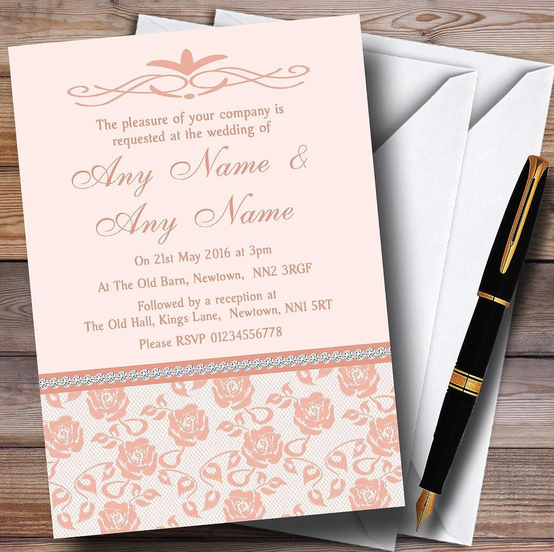 Pretty Pale Coral Floral Diamante Personalised Evening Reception Invitations   Invites & Envelopes
