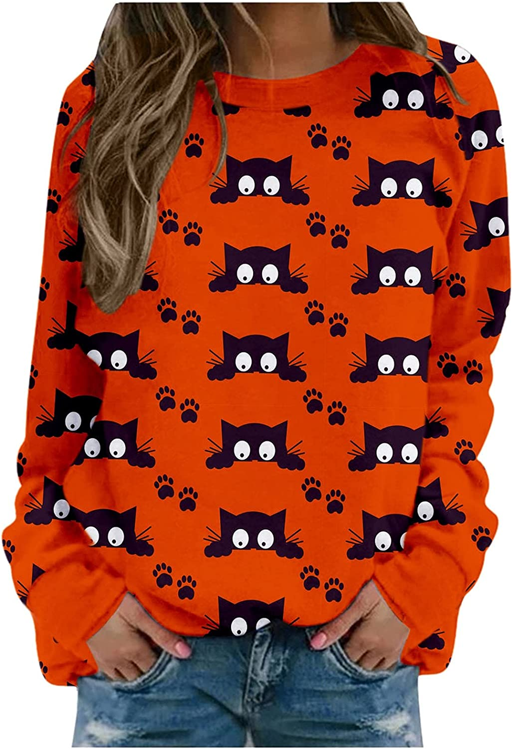 5665 Womens Halloween Houston Mall Long Sleeve Pullo Max 67% OFF Print Graphic Funny Tops