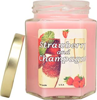 Strawberry And Champagne EXTRA SCENTED Soy Candle | Long Lasting | Best for Spa, Home, Aromatherapy, Gifts | Indoor & Outdoor Use | Weddings, Party, Meditation | Kitchen & Bath