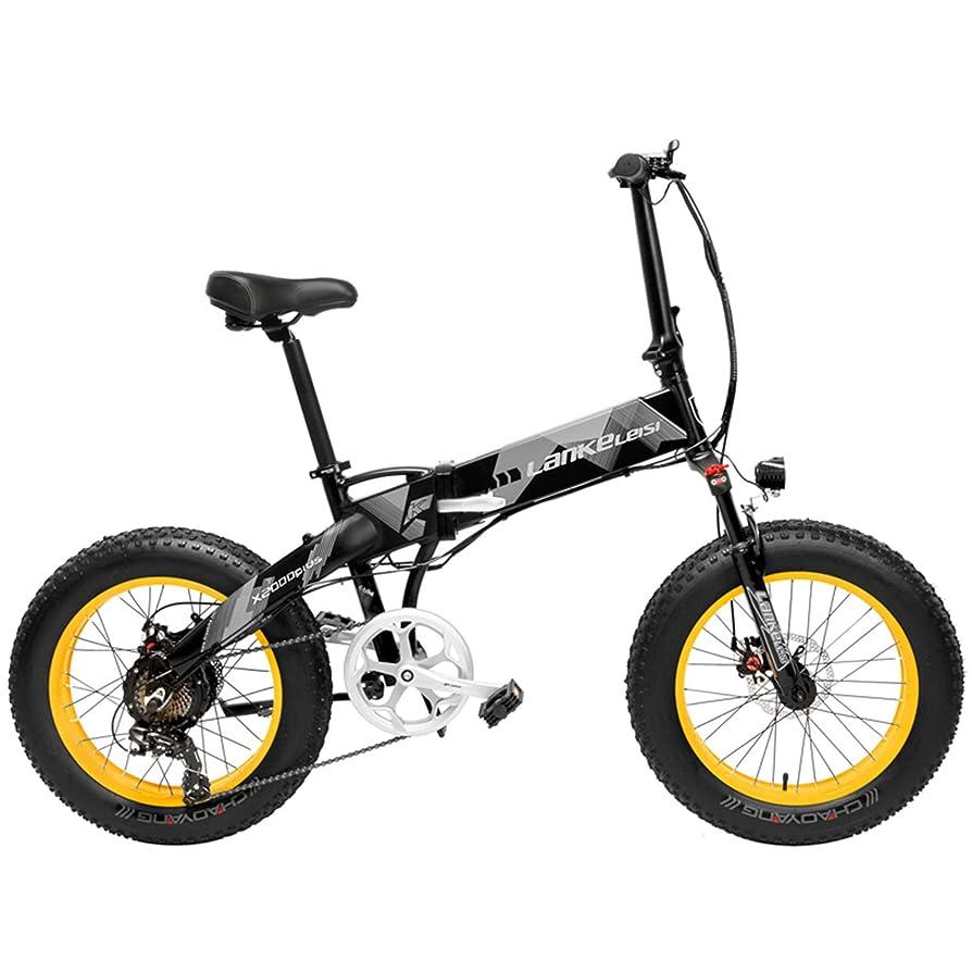 そこから症候群アリX2000 20インチファットバイク折りたたみ自転車7スピードスノーバイク48V 12.8Ah 500Wモーターアルミ合金フレーム5 PASマウンテンバイク駆動補助機付自転車 (ブラックイエロー, 10.4Ah)