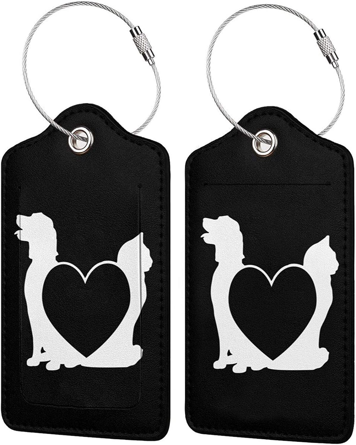Large-scale sale Dog Max 52% OFF and cat PU Leather Baggage Tags Cover Privacy with Rectangle