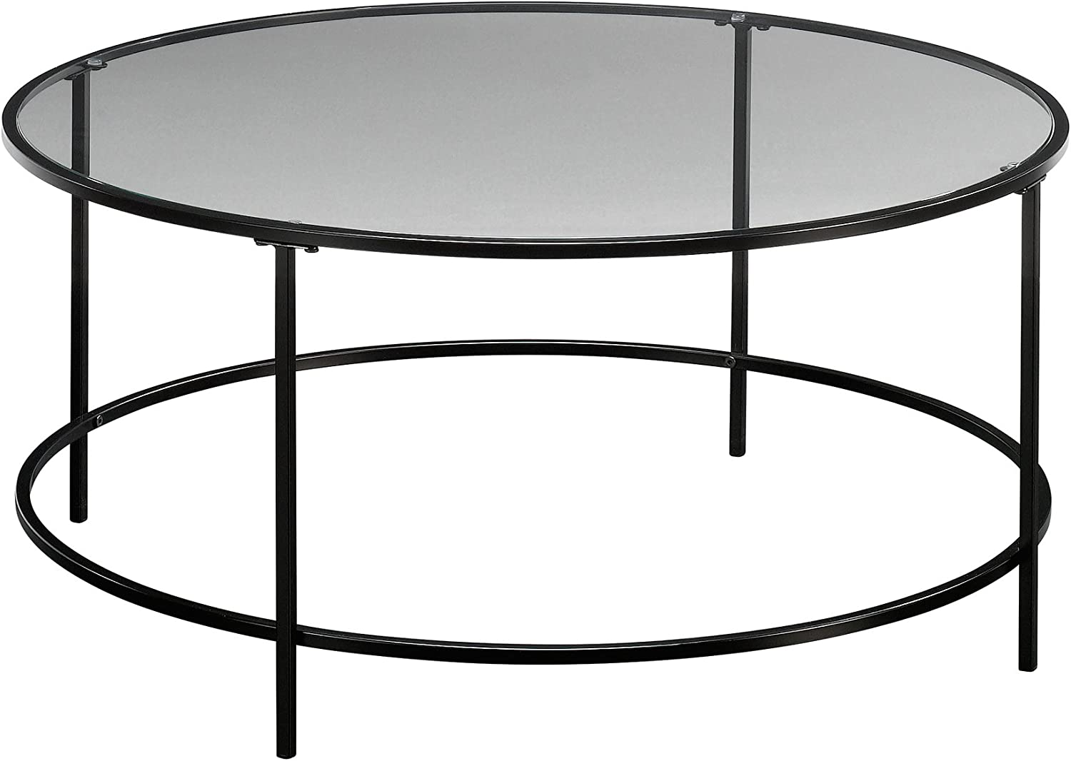 Surprising Round Modern Soft Sauder Coffee Glass Clear Black Table Home Interior And Landscaping Mentranervesignezvosmurscom