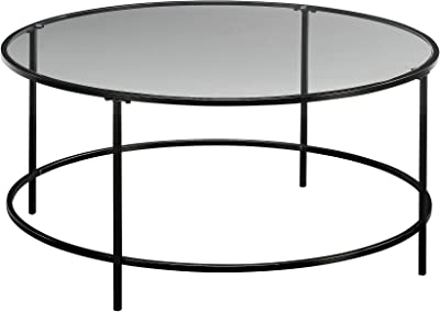 "Sauder Harvey Park Coffee Table, L: 35.98"" x W: 35.98"" x H: 16.50"", Black finish"