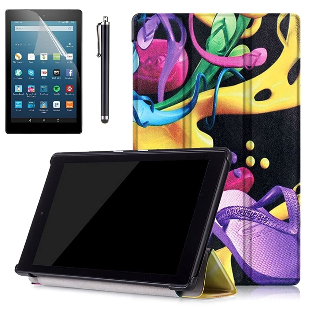Amazon HD 8 Case,Amazon Fire HD 8 Tablet Case,Fire HD8 Cover 2016,Kindle HD8 2016 Case,Ultra Slim Smart Shell Case for Amazon Kindle Fire HD 8 2016 Case+ Screen Protector + Stylus,Colorful Shoes