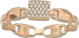 Michael Kors Women's Precious Metal-Plated Sterling Silver Mercer Link Pav¿ Center Ring