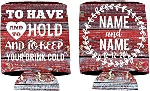 """VictoryStore Can and Beverage Coolers: Customizable Red Barn wood """"To Have And To Hold"""" Rustic, Vintage Wedding Can Coolers Design 3 (100)"""