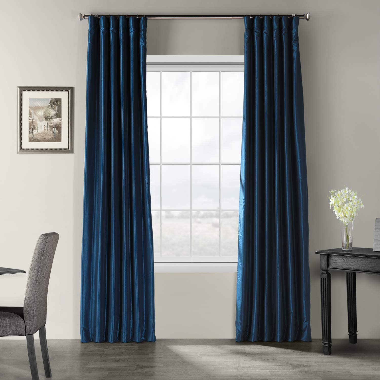 HPD Half Price Drapes PDCH-KBS70-108 Vintage Textured Faux Dupioni Silk Curtain, 50 x 108, Captain's bluee