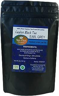 TeaPlus Ceylon Black Tea Earl Grey Premium Loose Leaf Tea Real Ceylon Tea from Sri Lanka Pouch 2oz