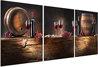 Wine Decor Canvas Wall Art - Modern Home Decorations for Living Room Red Wine Cups Bar Decor Food Painting Grape Barrel Kitchen Vintage Pictures Giclee Print 3 Piece Artwork 12''x16'' Unframed