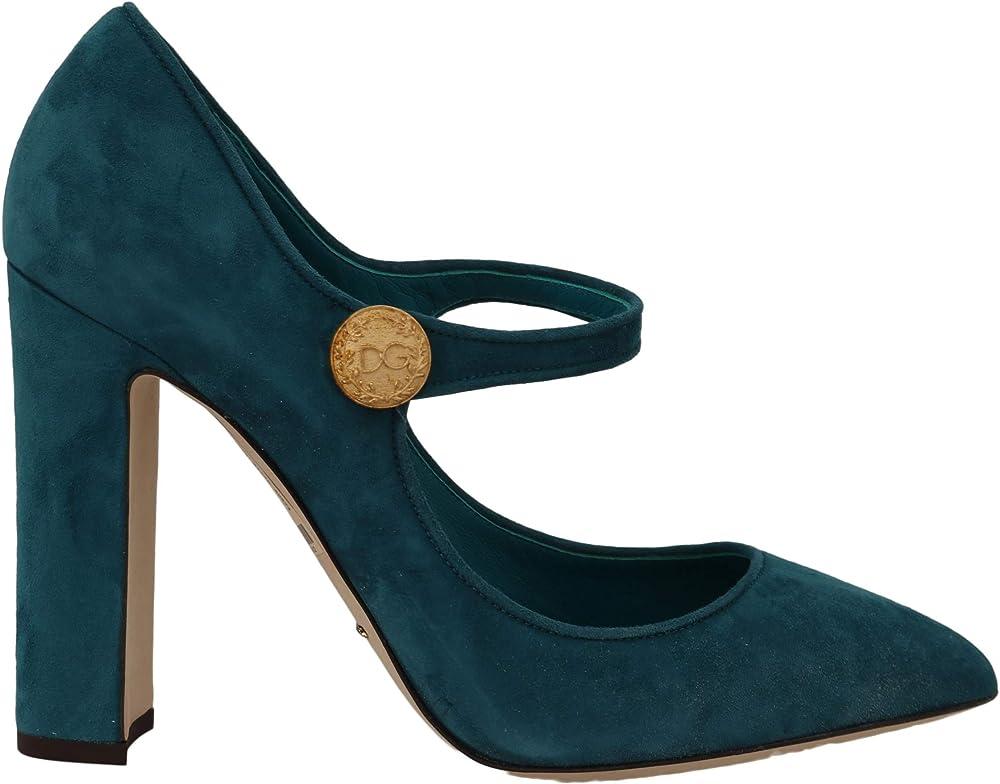 Dolce & gabbana mary jane scarpe  decolleté in pelle scamosciata, colore: blu B07T1VNKR7