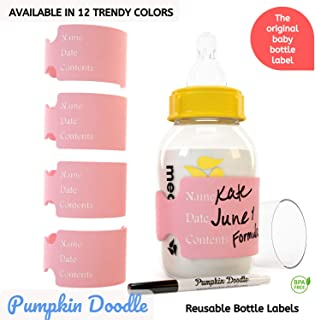 The Original Write & Reuse Baby Bottle Labels for Daycare - Available in 12 Colors