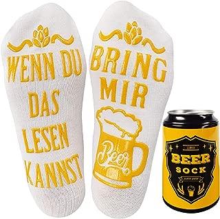 Tuopuda Lustige Socken Bier-Socken mit Bier Kann Wintersocken Herren Damen Weihnachtssocken Haussocken Baumwollsocken Witzige Socken WENN DU DAS LESEN KANNST BRING MIR BEER Weihnachtsgeschenk