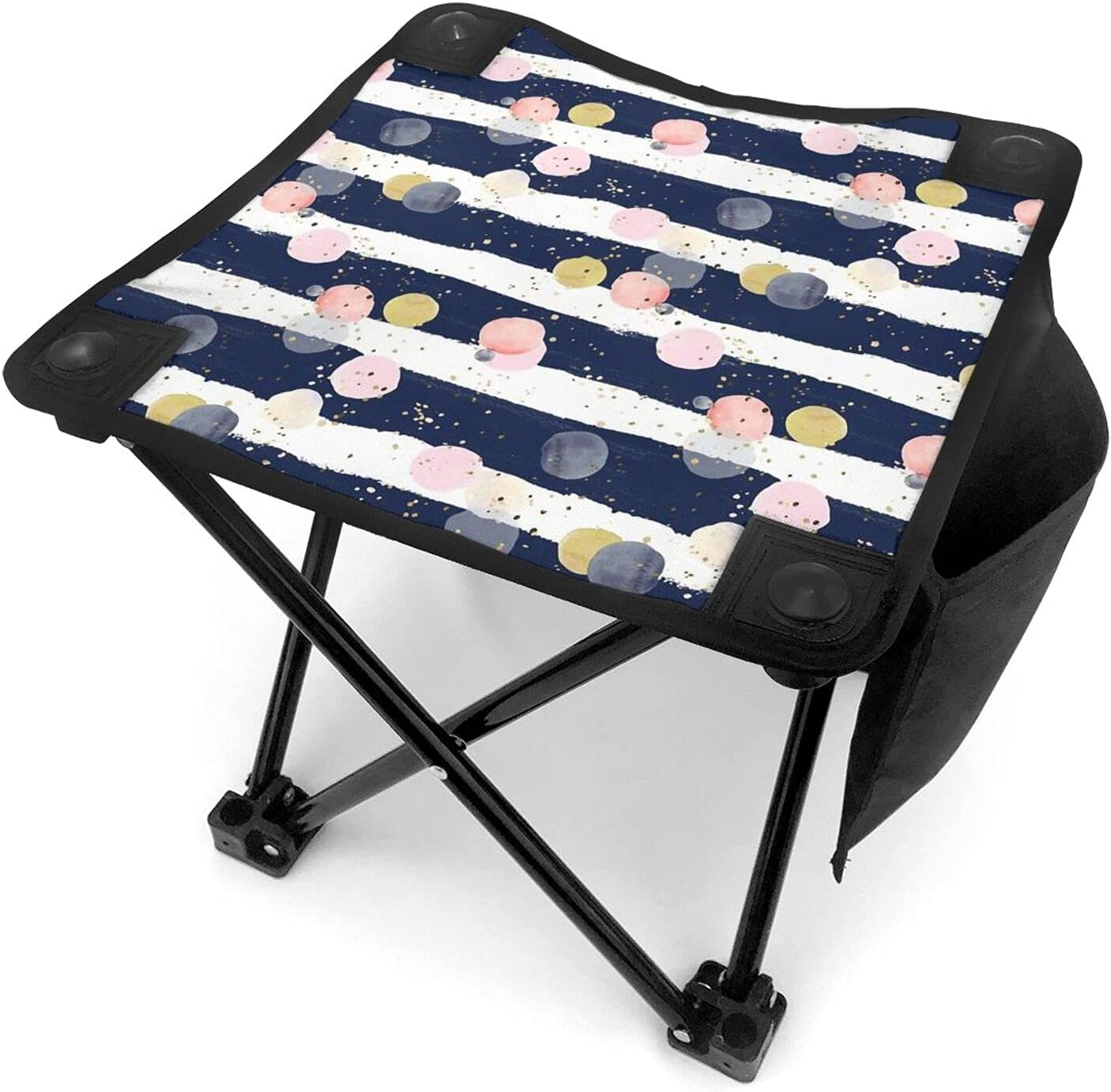 Gifts Virginia Beach Mall Navy Thick Stripe Dots Portable Folding Camping Chairs Sea Stool