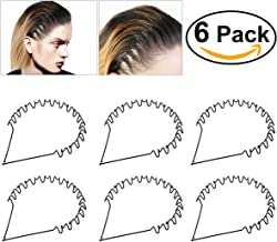 Unisex Black Spring Wave Metal Hoop Hair Band Girl Men's Head Band Accessory, 6 Pack