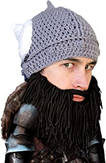 Beard Head Barbarian Dwarf Warrior - Original Handmade Knit Helmet and Removable Beard