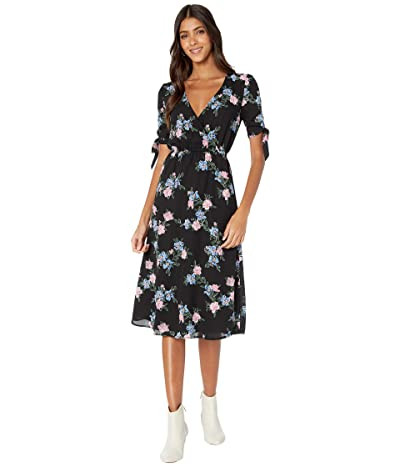 BB Dakota x Steve Madden Falling For Me Printed CDC Midi Dress with Sleeve Ties Women