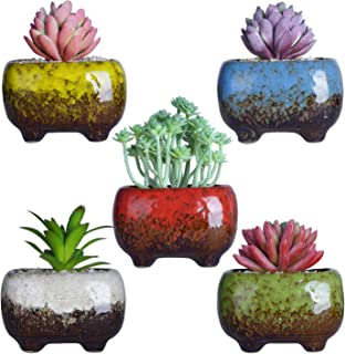 4.7 Inch Cute Modern Ceramic Succulent Planters Cactus Pots Tripod Mini Glazed Flowers Planter Containers Tiny Pots with Drainage Perfect for Desk or windowsill Pack of 5