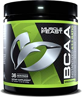MUSCLE FEAST Vegan BCAA Powder 4:1:1 Ratio, Unflavored, Keto Friendly, Sugar Free, Post Workout Recovery, 36 Servings (300...